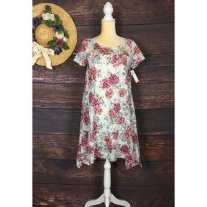 NWT Robbie Bee lace floral asymmetrical dress PM